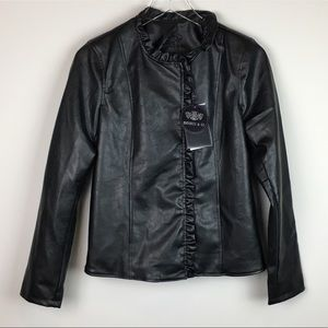 Emporio & Co Black Leather Jacket Ruffled Front